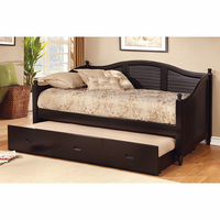 Furniture of America FOA-CM1957BK-BED Bel Air Cottage Daybed w/ Trundle, Black
