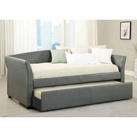 Furniture of America FOA-CM1956GY-BED Delmar Contemporary Daybed w/ Trundle, Gray