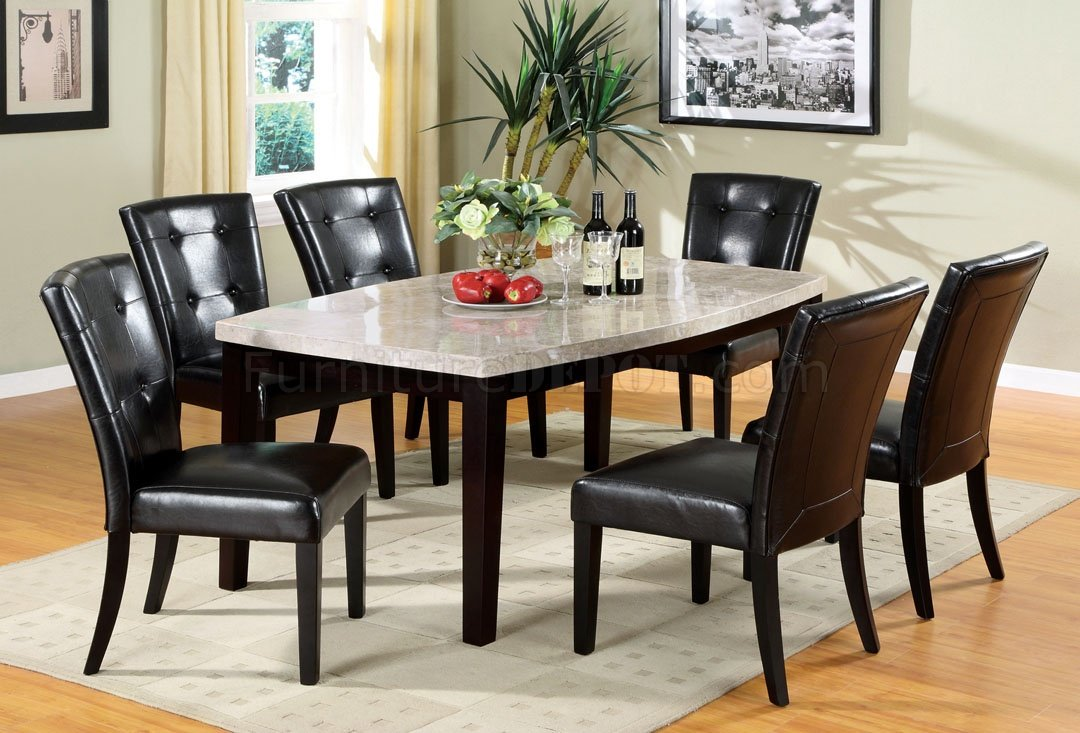 Furniture Of America Foa Cm3866t Marion I Contemporary Marble Top Oval Edge Dining Table