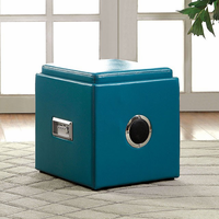 Furniture of America FOA-CM-AC210BL Armoni Contemporary Ottoman, Blue
