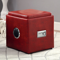 Furniture of America FOA-CM-AC210RD Armoni Contemporary Ottoman, Red