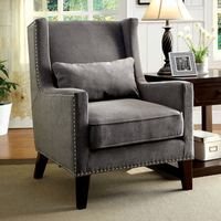 Furniture of America FOA-CM-AC6115GY Tomar Transitional Accent Chair, Gray