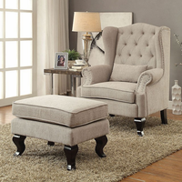 Furniture of America FOA-CM-AC6271BG-CH Willow Traditional Accent Chair, Beige
