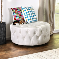 Furniture of America FOA-CM-AC6289WH Latoya Contemporary Ottoman, White