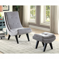 Furniture of America FOA-CM-AC6839GY Accent Chair w/ Ottoman, Gray Gray