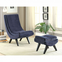 Furniture of America FOA-CM-AC6839NV Accent Chair w/ Ottoman, Navy Navy