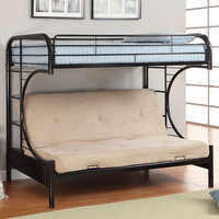 Furniture of America FOA-CM-BK1034-BK-BED Rainbow Contemporary Twin Bed w/ Futon Base, Black