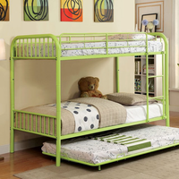 Furniture of America FOA-CM-BK1035AG Rainbow Contemporary Metal Twin/twin Bunk Bed, Green