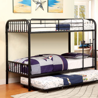 Furniture of America FOA-CM-BK1035BK Rainbow Contemporary Metal Twin/twin Bunk Bed, Black