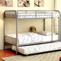 Furniture of America FOA-CM-BK1035SV Rainbow Contemporary Metal Twin/twin Bunk Bed, Silver