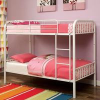 Furniture of America FOA-CM-BK1035WH Rainbow Contemporary Metal Twin/twin Bunk Bed, White