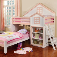 Furniture of America FOA-CM-BK131-PW-BED Citadel Novelty Twin/twin Loft Bed, White & Pink