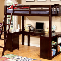 Furniture of America FOA-CM-BK265EX-BED Dutton Cottage Twin Loft Bed w/ Workstation, Espresso