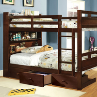 Furniture of America FOA-CM-BK459EX-F-BED Fairfield Transitional Twin/full Bunk Bed w/ Book Shelf