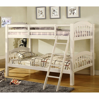Furniture of America FOA-CM-BK524-W-BED Coney Island Cottage Twin/twin Bunk Bed, White Finish