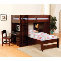 Furniture of America FOA-CM-BK529-EXP-SET Harford Cottage All-In-One Twin/twin Loft Bed, Dark Cherry Finish