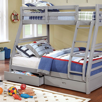 Furniture of America FOA-CM-BK588GY-BED California Iii Transitional Twin/full Bunk Bed, Gray