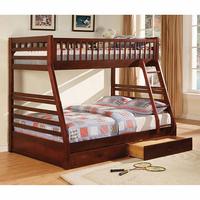Furniture of America FOA-CM-BK601CH -1&2 California Ii Transitional Twin/full Bunk Bed w/ 2 Drawers, Cherry Finish