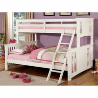 Furniture of America FOA-CM-BK604WH-BED Spring Creek Cottage Twin Xl/queen Bunk Bed, White Finish