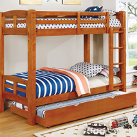 Furniture of America FOA-CM-BK618T-A-BED Solpine Transitional Twin/twin Bunk Bed, Oak