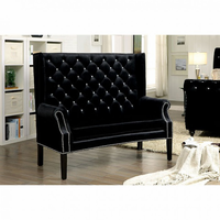 Furniture of America FOA-CM-BN6171BK Shayla Contemporary Loveseat Bench, Black