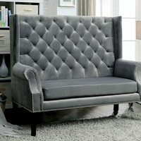Furniture of America FOA-CM-BN6171GY Shayla Contemporary Loveseat Bench, Gray
