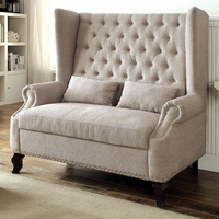Furniture of America FOA-CM-BN6223BG Alcacer Traditional Love Seat Bench, Beige