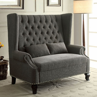 Furniture of America FOA-CM-BN6223GY Alcacer Traditional Love Seat Bench, Gray
