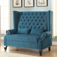 Furniture of America FOA-CM-BN6223TL Alcacer Traditional Love Seat Bench, Teal