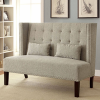 Furniture of America FOA-CM-BN6226BG Amora Traditional Love Seat Bench, Beige