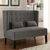 Furniture of America FOA-CM-BN6226GY Amora Traditional Love Seat Bench, Gray