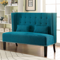 Furniture of America FOA-CM-BN6226TL Amora Traditional Love Seat Bench, Teal