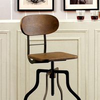 Furniture of America FOA-CM-BR6233A Leith Industrial Swivel Bar Stool, Oak