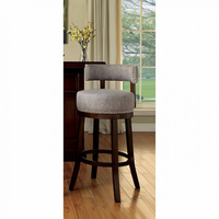 "Furniture of America FOA-CM-BR6252LG-24-2PK Lynsey Contemporary 24"" Bar Stool, Light Gray Fabric (2/ctn)"