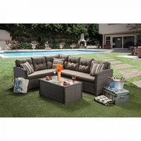 Furniture of America FOA-CM-OS1816-SET Moura Contemporary Patio Sectional + Table