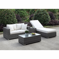 Furniture of America FOA-CM-OS2128-SET23 Somani Contemporary Love Seat+adj Chaise+end Table+coffee Table