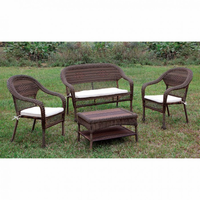 Furniture of America FOA-CM-OT1811-4PC Barua Transitional 4 Pc. Patio Seating Set w/ Ivory Cushions