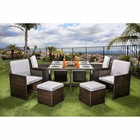 Furniture of America FOA-CM-OT2101-SET Keisha Contemporary 9 Pc. Patio Dining Set