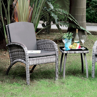Furniture of America FOA-CM-OT2130 3 Pc. Patio Seating Set Gray Wicker/Gray Cushion/Black Top