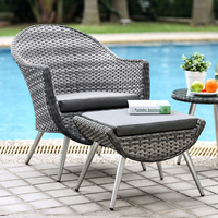 Furniture of America FOA-CM-OT2132 3 Pc. Patio Seating Set Gray Wicker/Gray Cushion