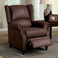 Furniture of America FOA-CM-RC6834 Leona Transitional Push Back Chair, Brown