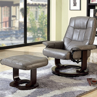 Furniture of America FOA-CM-RC6920-GY Cheste Traditional Lounger w/ Ottoman, Gray