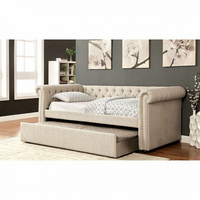 Furniture of America FOA-CM1027BG-BED Leanna Contemporary Daybed w/ Trundle, Beige