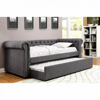 Furniture of America FOA-CM1027GY-BED Leanna Contemporary Daybed w/ Trundle, Gray