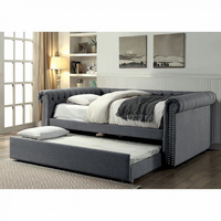 Furniture of America FOA-CM1027GY-F-BED Leanna Contemporary Full Daybed w/ Trundle, Gray