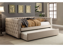 Furniture of America FOA-CM1028T-BED+TR Suzanne Contemporary Twin Size Daybed W/trundle