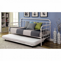 Furniture of America FOA-CM1925WH Claremont Transitional Metal Daybed, Vintage White (Trundle Optional)