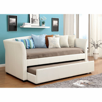 Furniture of America FOA-CM1956WH-BED Delmar Contemporary Daybed w/ Trundle, White