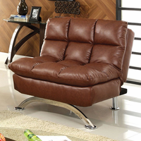Furniture of America FOA-CM2906Chair Aristo Contemporary Leatherette Chair, Saddle Brown