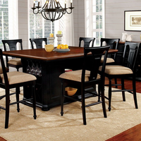 Furniture of America FOA-CM3199BC-PT-TABLE Sabrina Cottage Counter Ht. Table, Cherry & Black